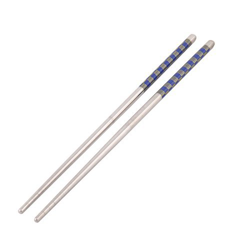DealMux Edelstahl Gittermuster Chopstick Geschirr 2 Paar Silber-Ton-Blau