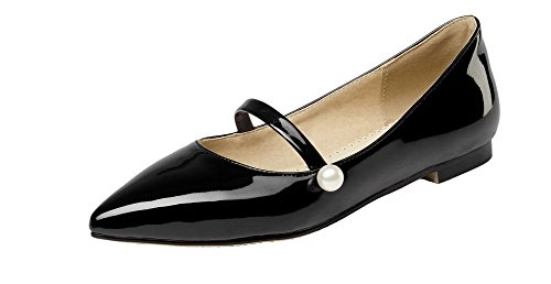 Shoes Women's Pointed Solid Low On Pull Toe Pumps Heels WeiPoot Microfiber Black vHUScZa7v