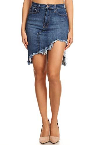 Vibrant Un-Even Frayed Hem Denim Skirt (K1549-MS-M)