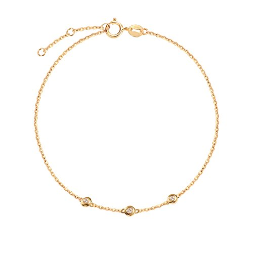 - Carleen 18K Solid Yellow Gold Three Round Dot 0.045 ct Diamond Bracelet Minimalist Dainty Delicate Fine Jewelry for Women Girls