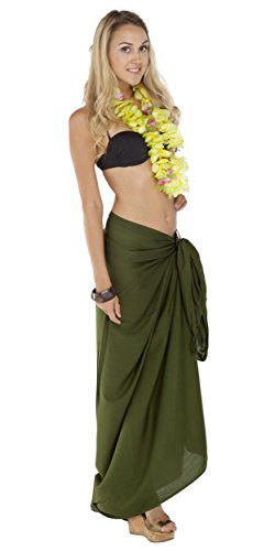 1 World Sarongs Womens Solid Swimsuit Cover-Up Sarong in Green/Dark Olive