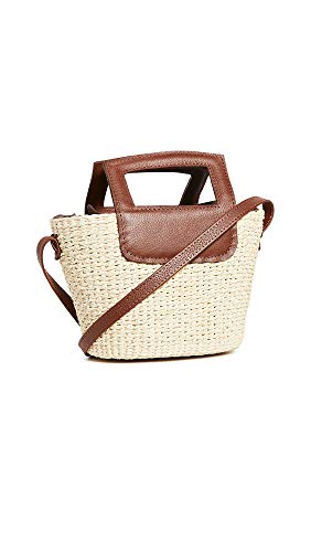 Sensi Studio Women's Leather Handle Crossbody Bag, Natural/Cognac, Tan, Brown, One Size