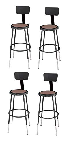 Adjustable Height Steel Lab Stool - National Public Seating 6224HB-10-CN 25