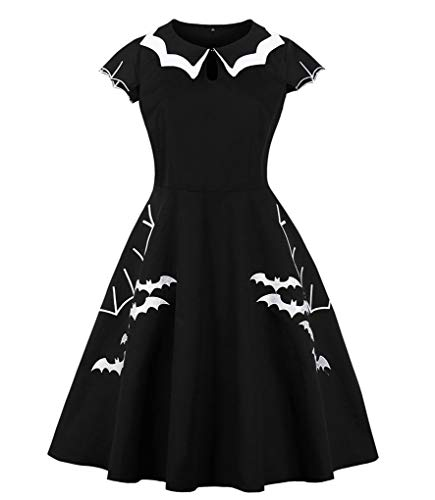 Fenxxxl Women's Plus Size 1950s Vintage Dress Bat Embroidery A Line Midi Halloween Dress F83-8092 Black 3XL -