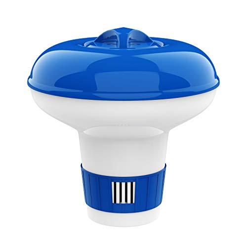 Housolution Dispensador de Cloro Flotante de 5 Pulgadas, Flotador Ajustable para Tableta de Lanzamiento de Gran Capacidad para Piscinas de Interior y Exterior SPA, Azul y Blanco: Amazon.es: Electrónica