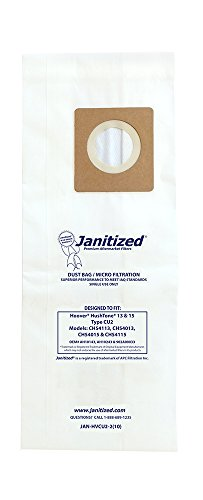 - Janitized JAN-HVCU2-2(10) Premium Replacement Commercial Vacuum Bag for Hoover Hushtone 13