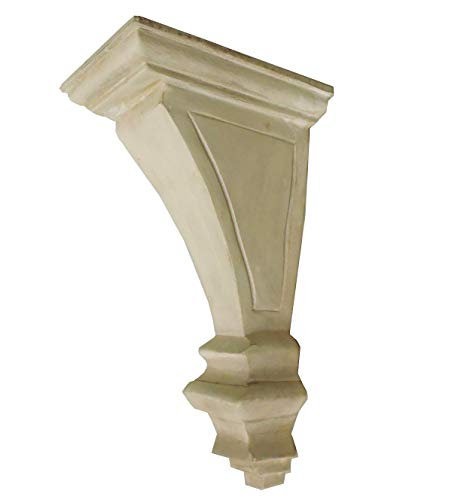 CinMin 10 Handcarved Art Deco Corbel Wood Wall Bracket/Floating Shelf (Torino Whitewash) (Shelf Wall Carved)