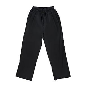 TopTie Men's Classic Black Chef Pants with Elastic Waist Drawstring