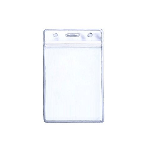 Rocclo Waterproof Type PVC ID Card Holder, Clear, Vertical Style, 10-pack