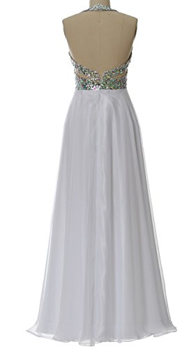 MACloth Women Halter V Neck Long Homecoming Dress Wedding Party Formal Ball Gown Blanco