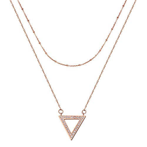 Dec.bells Layered Pendant Necklace Triangle Geometric Necklace Cubic Zirconia Clavicle Chain Necklace Rose Gold Jewelry for Women Teen Girls Accessories (Triangle pendnat)