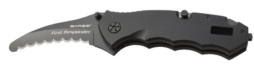 Sarge Knives SK-805 Tactical First Folder Knife with 3-Inch Stainless Blade Glass-Break Striking Point (Knife Blade Point Folder)