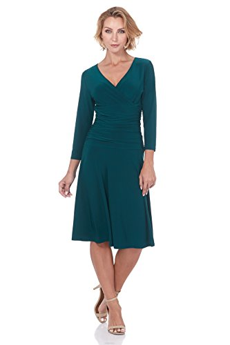 Dress and Sleeve Flare 3 Crossover Control Green Fit Tummy Rekucci Slimming Women's 4 Hunter YfqPHZ