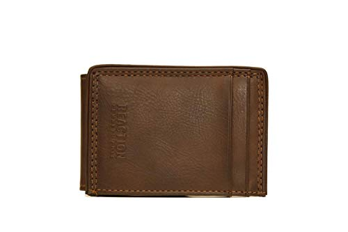 Kenneth Cole Genuine Wallet - Kenneth Cole ERBEN RFID Leather Magnetic Money Clip for men in Saddle