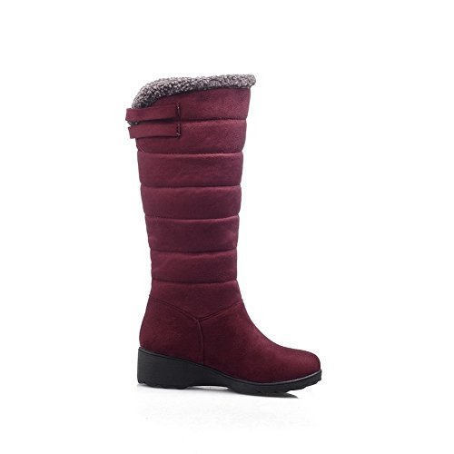 Schuhspitze Claret Frosted Allhqfashion Heels Low Runde geschlossene der High Frauen runde Boots Top Solide UBwtBqAO