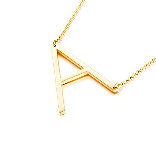 DIANE LO'REN 18K Gold Plated Sideways Initial Charm Necklace (A) (Letter Jewelry)