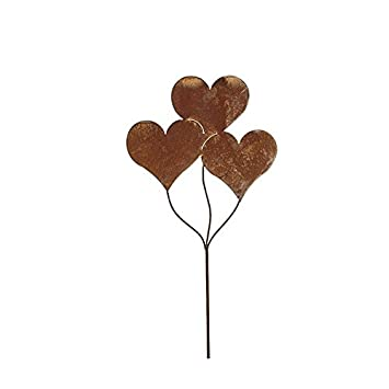 Gartenstecker Set Herzen 3 x 60cm Metall Rost Gartendeko Edelrost groß