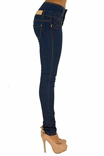 A High Black Nero Elasticizzato 3 Blu nbsp;– Fit 6 Comodi Slim Taglia Donne Chic Waist Lusty Lustychic nbsp;14 Da Donna Bianco Pantaloni Jeans Skinny Alta Button Vita qSw8px