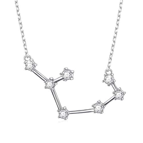 FLYOW Constellation Necklace 925 Sterling Silver CZ Horoscope Zodiac Constellation Pendant Necklace for Women,18