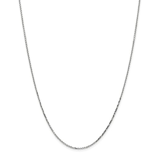 16' Diamond Cut Cable Chain (Roy Rose Jewelry 14K White Gold 1.4mm Diamond-cut Cable Chain Necklace ~ Length 16'' inches)