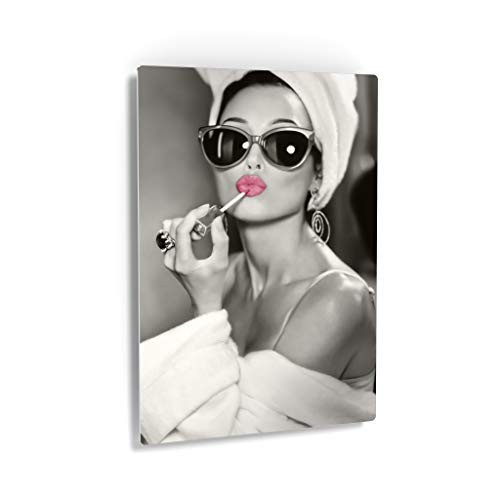 Audrey Hepburn Wall Art Pink Lips Metal Print Lipstick Makeup Iconic Pop Art Pretty Beauty Black and White Metal Wall Art Home Decor Artwork Gallery -%100 Handmade in The USA - 40x30