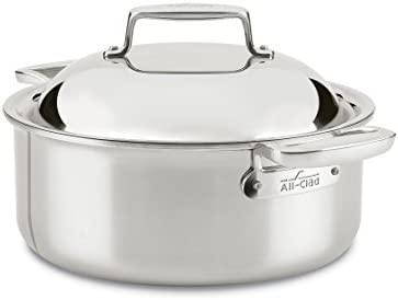 All-Clad SD75506 18 10 D7 Stainless Steel 7-Ply Bonded Construction Dishwasher Safe Oven Safe Round Oven Stock Pot, 6-Quart, Silver