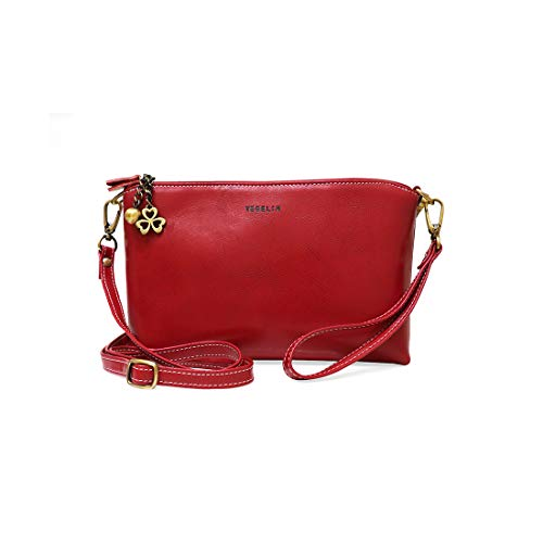 Womens Small Crossbody Bags Leather Wristlet Clutch Double Zipper Purses and Handbags with Card Slots & 2 Straps, ()