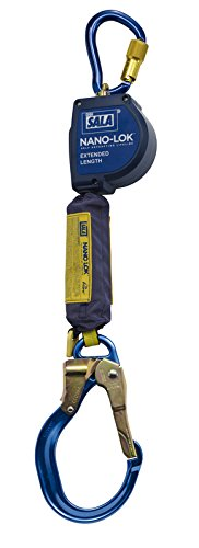 (3M DBI-SALA Nano-Lok Extended 3101595 Fall Arrest Safety Clip 9-' Extended Length, Single Leg, Swiveling Aluminum Carabineer and Locking Nose Aluminum Rebar)