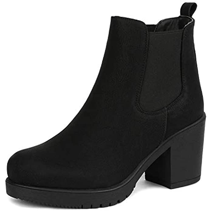 DREAM PAIRS Women's FRE High Heel Chelsea Style Ankle Bootie