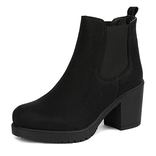 DREAM PAIRS Women's FRE Black_PU High Heel Ankle Boots 8 B(M) US
