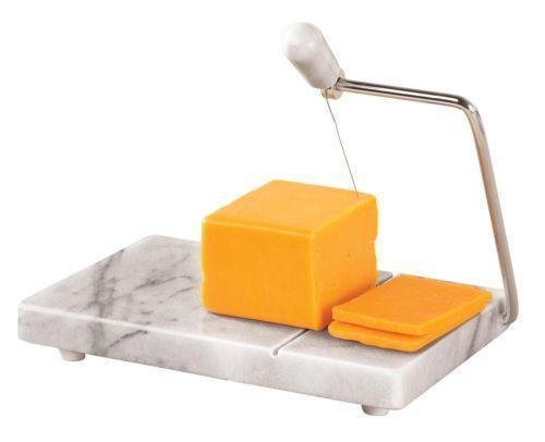 Marble Cheese Slicer - Cheese Board With Slicer - Beautiful White Marble Coloring