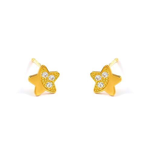 Balluccitoosi 14k Gold Tiny Stud Earrings for Women & Girls - Real Hypoallergenic, Small & Minimalist (14k Star Pave CZ Stud Earrings)