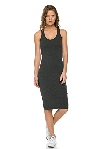 - LaClef Women's Sleeveless Basic Racer Back Tank Midi Cotton Casual Dress (Large, Charcoal)