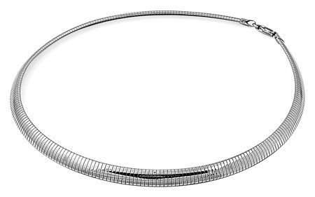 - THE ICE EMPIRE 316l Stainless Steel 6 mm Omega Silver Flat Dome Chain Necklace Size 18
