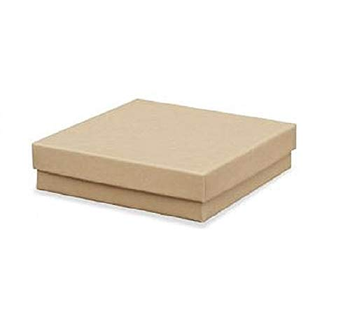 Brown Kraft Square Cardboard Jewelry Gift Boxes 3.5 x 3.5 x 1 Inches-16 Pack