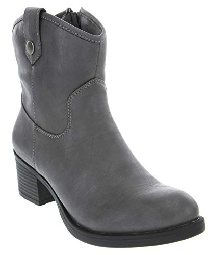Rampage Women's Little Italie Low Shaft Mid Calf Riding Boot Charcoal Distressed 7