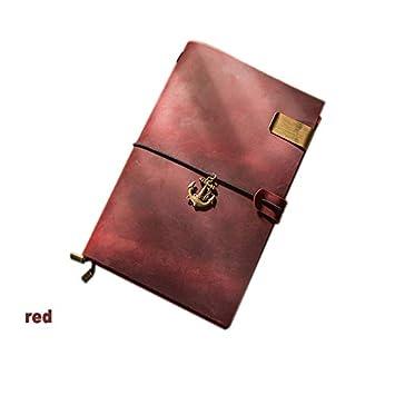 VQEWZ Cuaderno Viajeros Vendimia Cuaderno De Cuero Genuino ...