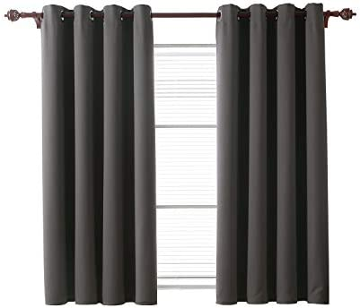 Deconovo Blackout Thermal Insulated Curtain Room Darkening Drapes with Grommets Window Panels for Bedroom, 52×63, Dark Grey