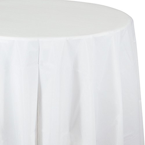 (Creative Converting Tissue Poly Table Covers Octy Round Paper Tablecloth, 3 Ply 82 Inch x 82 Inch For 60 Inch Round Tables - 3 Pack - Various Colors and Quantities (White, 2 - 3 Packs))