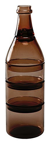 L'apero Stackable Appetizer Dish Set Nesting Bowls and Toothpick Holder Glass (Brown)