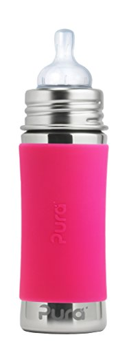 Pura Kiki 11 oz Stainless Steel Infant Bottle with Silicone Sleeve and Natural...