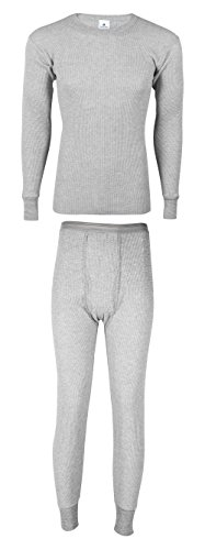 Indera Mills Men's Cotton Heavyweight Thermal Knit Set (XX-Large, Heather Grey Set)