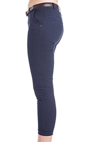 Abbino 2956 Pantalones para Mujer - Hecho en ITALIA - 3 Colores - Verano Primavera Algodón Largos Deporte Casual Chico Fashion Elegantes Rebaja Azul