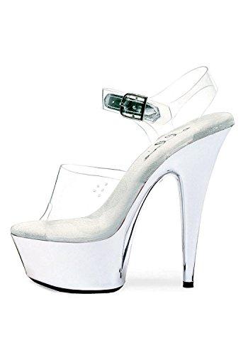Sandalo Stiletto A 6 Punte Cromato Da Donna (trasparente / Argento;)