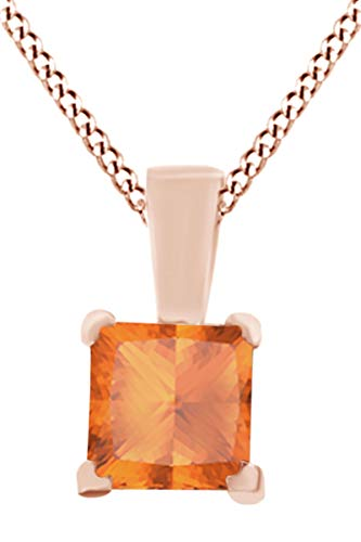 - wishrocks Princess Cut Simulated Citrine Solitaire Pendant Necklace in 14K Solid White Gold (1.15 cttw)