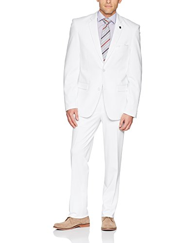 Stacy Adams Men's Single Breasted Real Flex Stretch Fabric Suit, White, 42 Regular