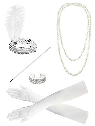 Zivyes 1920s Flapper Accessories Feather Headband Choker Necklace Gloves Cigarette Holder -