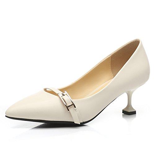 AJUNR Moda/Elegante/Transpirable/Sandalias Primavera único Medio de Zapata el Talón el Talón La Fina Cabeza Puntiaguda la Hebilla del Cinturón Zapatos 38 Beige 38|Beige