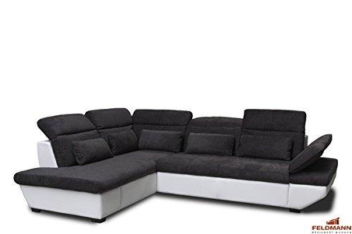 Ecksofa 60583 Polsterecke weiß / schlamm Ausrichtung und Ausstattung wählbar (Ausrichtung: Ottomane links / Ausstattung: ohne Schlaffunktion und Schubkasten)