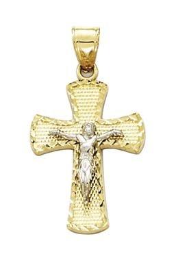 14 carats-Bicolore X-petit Crucifix de taille diamant pendentif-JewelryWeb